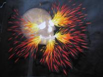 Le crâne enflammé, dessin préparatoire pour une broderie /Alice Heit 2015