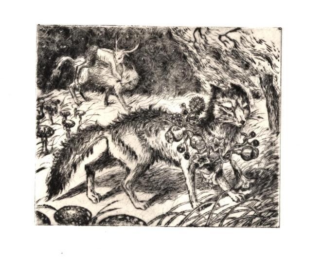 """""""Ronds de sorcières"""", pointe sèche sur cuivre, Alice Heit."""