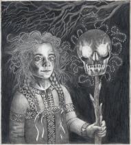 """""""Vassilissa et le crâne enflammé"""", dessin préparatoire pour une lithographie. Alice Heit 2016."""