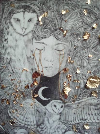 """Travail de dorure en cours (application de feuilles de cuivre). """"le coeur de la nuit"""", Alice Heit 2018"""