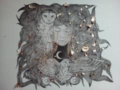 """Dorures avec application de feuilles de cuivre en cours....""""le coeur de la nuit"""", Alice Heit 2018"""